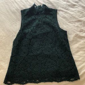 Green mock neck lace top